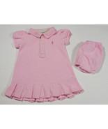 RALPH LAUREN BABY GIRLS 9M DRESS SET PINK POLO PONY LOGO PLEATED HEMLINE... - $12.61