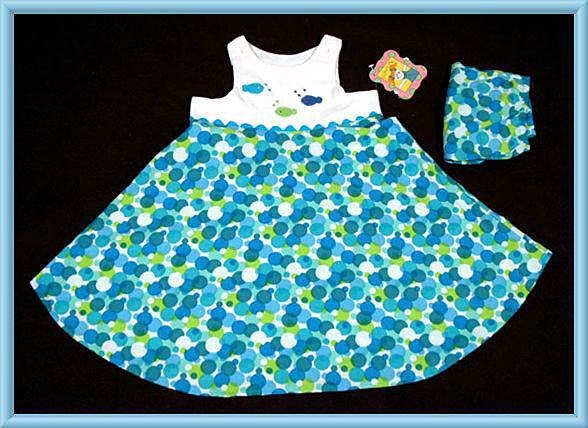 Primary image for PICTURE ME GIRLS SIZE 4T DRESS NWT BLUE TROPICAL FISH TINY BUBBLES NEW