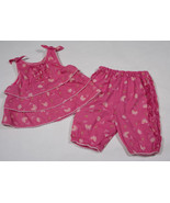 THE CHILDRENS PLACE GIRLS 3-6M OUTFIT TCP PINK BABY BUTTERFLY TOP PANTS SET - $8.41