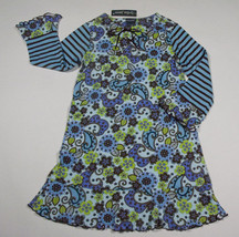 LYDIA JANE GIRLS SIZE 4 DRESS NWT BLUE BROWN FLORAL FLOWERS STRIPED NEW - $14.30