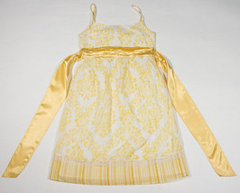 LIMITED TOO GIRLS SIZE 8 DRESS YELLOW WHITE SUNDRESS RHINESTONES FLORAL - $14.30