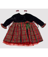 GEORGE BABY GIRLS 12M DRESS RED GREEN PLAID CHRISTMAS HOLIDAY SPECIAL OC... - $18.50