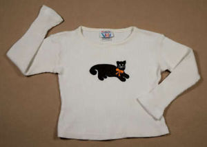 Primary image for TALBOTS KIDS GIRLS SIZE XS 3 4 TOP SPOTTED KITTY CAT KITTEN SHIRT FALL HALLOWEEN
