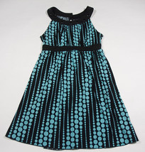 RAMPAGE LADIES JUNIORS SIZE M MEDIUM BLACK DRESS TURQUOISE POLKA DOTS - $21.03