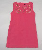 POTATO TOMATO BOUTIIQUE GIRLS SIZE 7 DRESS FLORAL FLOWERS BEADS SILK LINEN - $16.82
