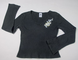 ELLEMENNO GIRLS SIZE MEDIUM M 7 8 TOP BLACK RIBBED FLORAL FLOWERS LONG S... - $12.61