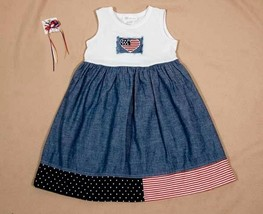 BONNIE JEAN GIRLS SIZE 5 DRESS PATRIOTIC FOURTH 4TH OF JULY FLAG & HAIRBOW - $21.03