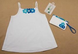 Gymboree Girls Sz 9 Top Hairpins & Purse Pool Party White Blue Floral Swiss Dot - $21.03