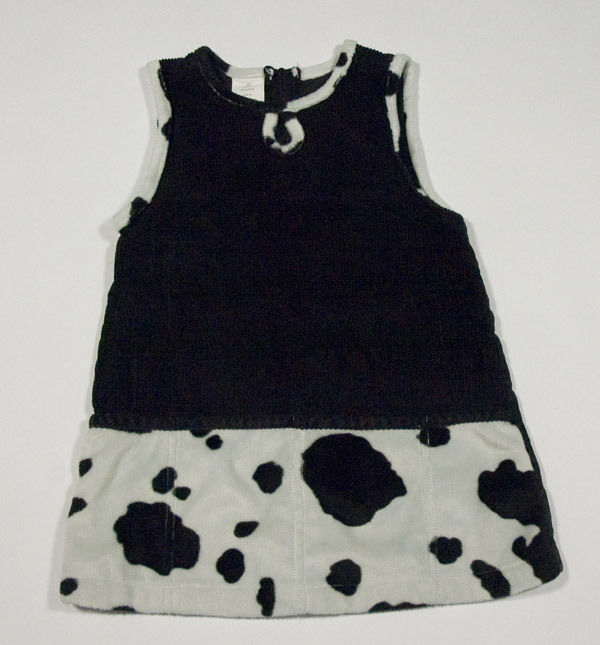 Primary image for GIRLS SIZE 3T DRESS DROP WAIST BLACK CORDUROY SPOTTED PONY HORSE DALMATIAN