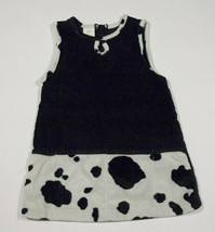 GIRLS SIZE 3T DRESS DROP WAIST BLACK CORDUROY SPOTTED PONY HORSE DALMATIAN - $10.09