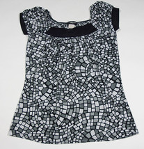 PERSEPTION CONCEPT WOMENS S SMALL TOP BLACK WHITE GRAY GEOMETRIC SQUARES... - $12.61