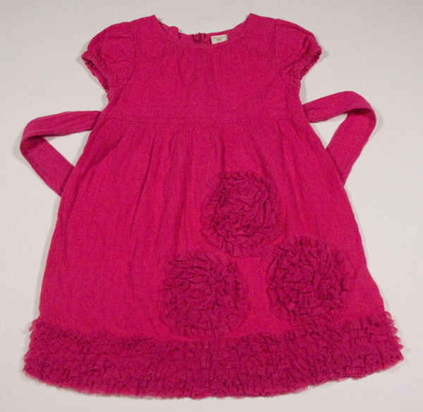 OLD NAVY GIRLS SIZE 4T DRESS HOT PINK TULLE RUFFLES FLOWERS