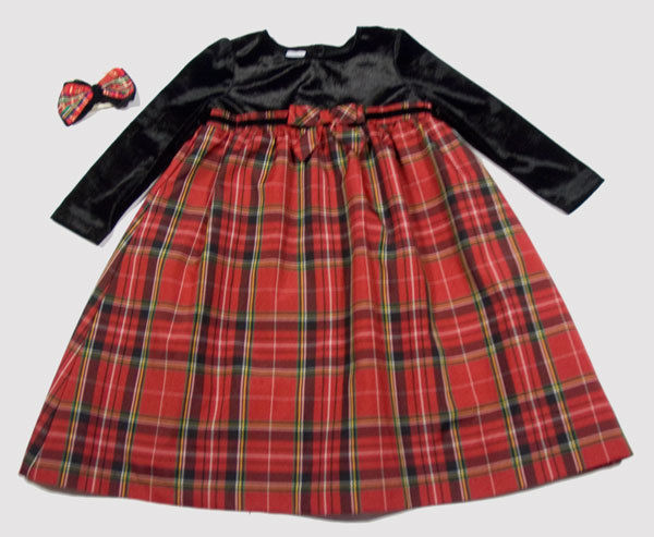 WONDER KIDS GIRLS 4T DRESS RED PLAID BLACK VELVET CHRISTMAS HOLIDAY HAIRBOW