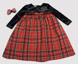 WONDER KIDS GIRLS 4T DRESS RED PLAID BLACK VELVET CHRISTMAS HOLIDAY HAIRBOW - $19.34