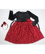 GEORGE GIRLS 12  DRESS RED BLACK ELEGANT SPECIAL OCCASION HOLIDAY HEADBA... - $24.39