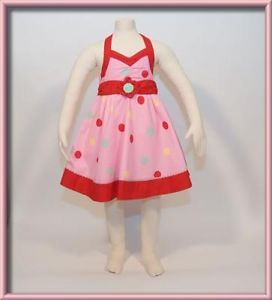 Primary image for KIDS HEADQUARTERS GIRLS 3T DRESS NWT BUBBLEGUM PINK POLKA DOT TWIRLY HALTER NEW