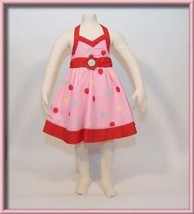 KIDS HEADQUARTERS GIRLS 3T DRESS NWT BUBBLEGUM PINK POLKA DOT TWIRLY HAL... - $18.50