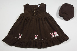 GYMBOREE GIRLS 6M 12M BROWN DRESS SET ALPINE SWEETIE SNOW BUNNY RABBIT S... - $10.93