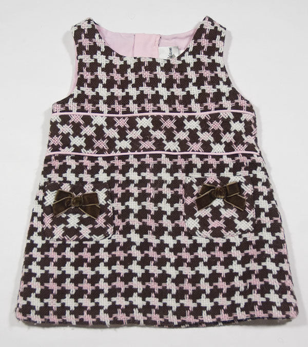 Primary image for RARE EDITIONS GIRLS INFANT SIZE 12M DRESS PINK BROWN HOUNDSTOOTH FALL WINTER