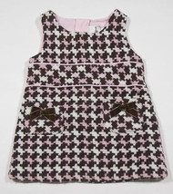 RARE EDITIONS GIRLS INFANT SIZE 12M DRESS PINK BROWN HOUNDSTOOTH FALL WI... - $12.61