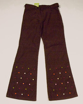 GYMBOREE GIRLS 7 PANTS NWT CUTE AS A BUTTON BROWN CORDUROY COLORFUL DOTS... - $21.03