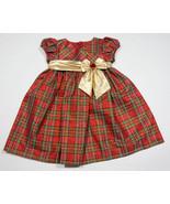 BONNIE JEAN BABY GIRLS DRESS 24M TAFFETA RED PLAID GOLD BOW HOLIDAY OCCA... - $15.98