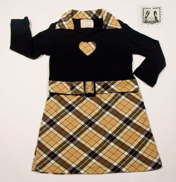 Primary image for PSKETTI BOUTIQUE GIRLS SIZE 4 DRESS NOVA CHECK PLAID HEART RHINESTONES