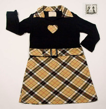 PSKETTI BOUTIQUE GIRLS SIZE 4 DRESS NOVA CHECK PLAID HEART RHINESTONES - €10,62 EUR