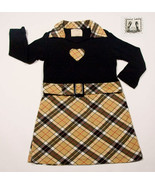 PSKETTI BOUTIQUE GIRLS SIZE 4 DRESS NOVA CHECK PLAID HEART RHINESTONES - £9.90 GBP