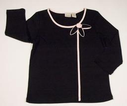 FIORLINI INTERNATIONAL WOMENS SIZE S SMALL TOP BLACK PINK DAISY FLOWER S... - $10.93