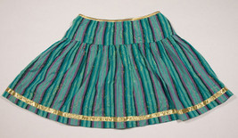 OLD NAVY GIRLS SIZE XL 14 SKIRT TURQUOISE PURPLE SHIMMERY GOLD STRIPED NEW - $12.61