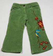 LITTLE MASS BOUTIQUE GIRLS SIZE 2T PANTS BLUEBIRDS FLOWERS GREEN CORDURO... - $14.30