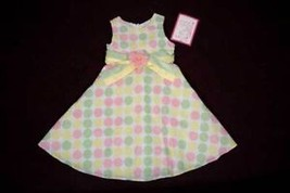 EMILY WEST GIRLS SIZE 5 DRESS NWT POLKA DOTS EASTER PINK FLOWER SPRING S... - $19.34