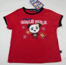 MUDD GIRLS RULE SMALL 7 8 TOP NWT RED PANDA LOVE FLOWERS DAISY CHARM SHI... - £9.67 GBP