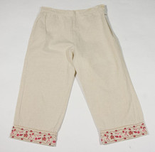 Girls Size 8 Cropped Capri Pants Pink Floral Flowers Trim Linen Spring Summer - $14.30