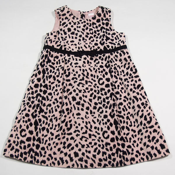 OLD NAVY GIRLS SIZE 5T DRESS PINK VELVET LEOPARD PRINT BOW FALL WINTER