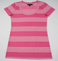 City Streets Womens Juniors  Size L Large Top Shirt Pink  Striped Sheer New - $16.82