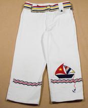 COPPER KEY GIRLS 8 CAPRI PANTS WHITE NAUTICAL SAILBOAT SAILOR STRIPES AN... - $15.98