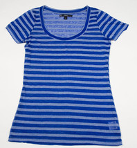 City Streets Womens Juniors  Size L Large Top Shirt Blue  Striped Sheer New - $16.82