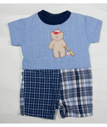 CACH CACH BABY BOYS SIZE 6M OUTFIT BASEBALL BUTTONS TEDDY BEAR 6 M ROMPER - $10.09