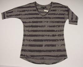 City Streets Nwt Womens Juniors Size M Medium Top Gray Striped Sheer New - $18.50