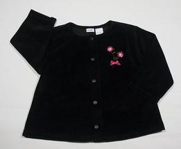 Gymboree Girls Size 24 M Black Velvet Top Pink Flowers Roses Holiday 24 M - $8.41
