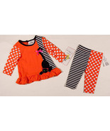 RARE EDITIONS BABY GIRLS SIZE 6M OUTFIT NWT HALLOWEEN KITTY CAT DOTS TOP... - $21.03