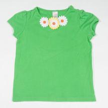 GYMBOREE GIRLS SIZE 7 TOP DAISY DAYS GREEN FLOWERS DAISIES SHIRT BEADS - $14.30