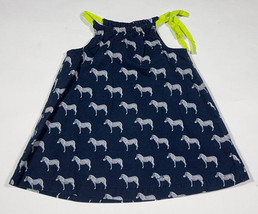 CHEROKEE GIRLS SIZE 9M DRESS ZEBRA PRINT NAVY BLUE LIME GREEN SPRING SUM... - $12.61