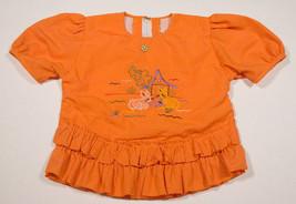 Darpan Girls Size 6 Euro 28 Top Orange Embroidered Bunny Rabbits Ruffles Shirt - $8.41