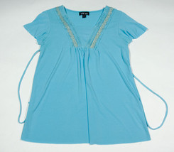 I.N. Girl Size Large Xl 16 Top Blue Turquoise Shimmery Silver Accent Shirt - $14.30