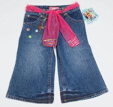 ZOEY 101 NWT GIRLS SIZE 10 CROPPED DENIM JEANS CHARMS PINK SEQUINS BELT NEW - $10.09