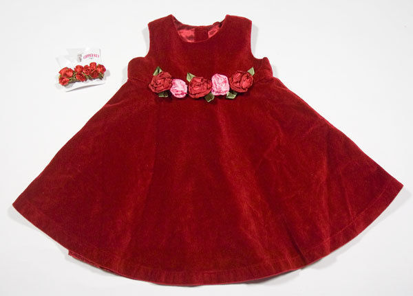 THE CHILDRENS PLACE GIRLS SIZE 24M DRESS RED VELVET ROSES FLORAL & HAIR CLIP TCP image 1