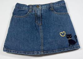 GYMBOREE GIRLS SIZE 4 DENIM SKORT GLAMOUR KITTY GOLD SEQUINS HEART - $12.61
